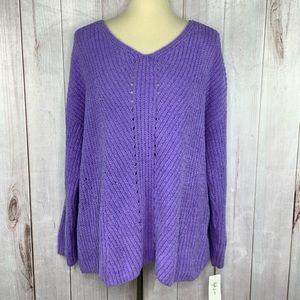 Style and Co Purple Chunky Soft  Boho Sweater